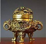 APOO Collezione Cinese di Rame Ottone Intagliato Zodiaco Animale Drago Tartaruga Bruciatore incenso Incensiere Piccole Statue squisite