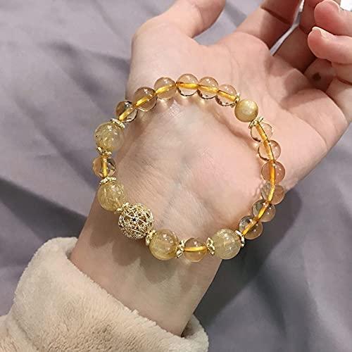 PPuujia Pulsera de cristal natural de cuarzo rutilado con cuentas de cristal citrino hecho a mano pulseras de hebra para mujer, abalorios ajustables de joyería de moda (color de la gema: amarillo)