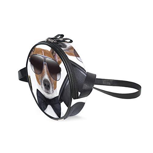 Ameok-Design Bow Tie Bonnet humoristique Jack Russell Terrier Lunettes de soleil Sac à bandoulière Sac à main multifonction en cuir PU pour shopping Voyage Rond