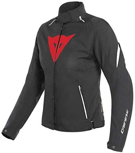 Dainese Laguna Seca 3 D-Dry - Chaqueta de moto para mujer, color negro, rojo y blanco 46