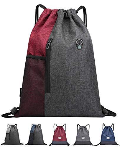 QueenNa Kordelzug-Tasche, Rucksack, Turnbeutel, Beutel, Schnur, Schwimmen, PE-Tasche, große Sporttasche für Damen und Herren, mit Reißverschluss und Netztaschen, leicht, wasserdicht, Rot