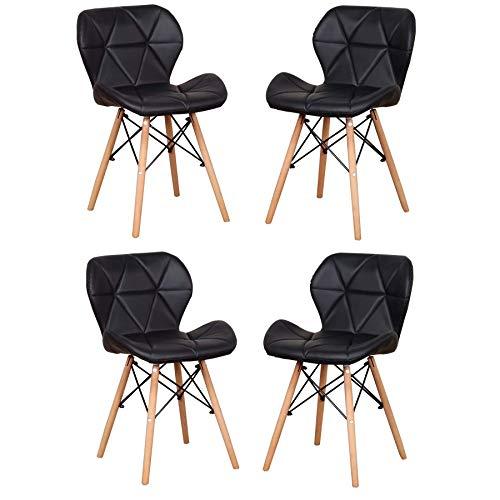 EGOONM Sillas de Comedor Nordicas Pack 4, Silla de Oficina Suave para la Cena, Estudio, Trabajo, Maquillaje (Negro-4 sillas)