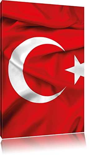 Turkey flag Türkei Flagge, Format: 80x60 auf Leinwand, XXL riesige Bilder fertig gerahmt mit Keilrahmen, Kunstdruck auf Wandbild mit Rahmen, günstiger als Gemälde oder Ölbild, kein Poster oder Plakat