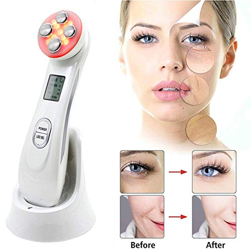 5 in 1 Face Skin Beauty Face Lifting Tightening Facial Deep Cleaning Beauty Remover Wrinkle Massager … (White)