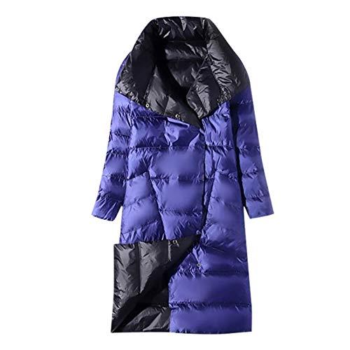 Aujelly Winddichter Daunenmantel, Damen Steppmantel Parka Coat, Daunenmantel Standkragen Plus Größe Lange Daunenjacke (S, Blau)