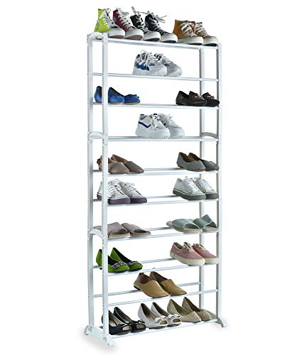 Nyxi 10 Tier Shoe Rack Extendable & Stackable, Quick Assembly No Tools Required - White Colour - Holds Upto 30 Pairs (White)