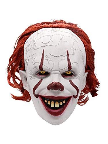 Máscara De Payaso Payaso Payaso Asesino De Demonios Máscara Facial Para Adultos Máscara De Payaso De Pelo Rojo Máscara De Látex De Halloween Disfraces De Cosplay Accesorios De Fiesta Payaso De
