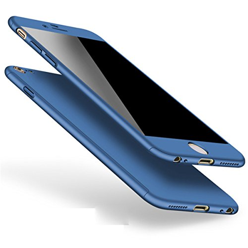 Custodia iPhone 6,iPhone 6S Case 360 Gradi Cover Full Body 3 in 1 Duro Antigraffio Macchia PC Custodia + Pellicola Vetro Temperato Protettiva per iPhone 6/6S 4.7' (Blu)