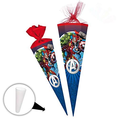 alles-meine.de GmbH Schultüte -  The Avengers - Assenble Avenger  - 70 cm - Filzabschluß - Zuckertüte - mit / ohne Kunststoff Spitze - Nestler - Jungen - Initiative / Captain A..