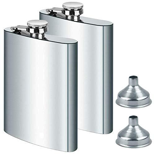 DealKits 2X Edelstahl Flachmann und Trichter, 8oz.227 ml Geeignet Zum Tragen von Alkohol