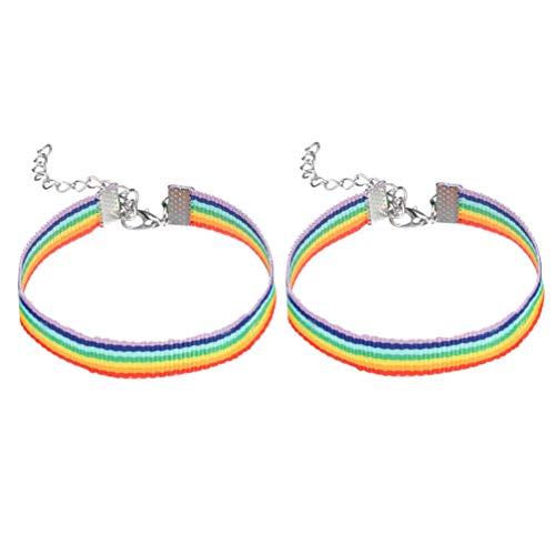 Amosfun 4 stks Regenboog Armband Kleurrijke Polsband LGBT Pride Armbanden Gay Lesbische Paar Liefhebber Vriendschap Armband voor Parades Regenboog Festival