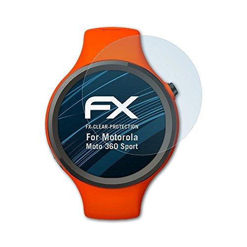 atFoliX Schutzfolie kompatibel mit Motorola Moto 360 Sport Folie, ultraklare FX Bildschirmschutzfolie (3X)