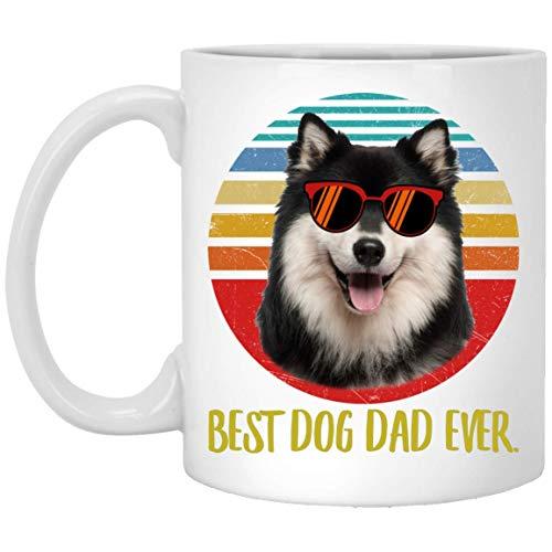 N\A Funny Best Finnish Lapphund Black Cream Dad Ever Sunset Taza de café Retro 11 oz