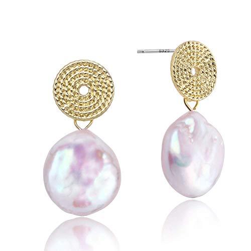 Large Baroque Coin Pearl Dangle Drop Earrings 14K Gold Round Disk Pearl Earring Baroque Pearl Drop Earrings