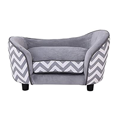 Pawhut Plush Fur Dog Sofa Couch Wooden Frame Deluxe Pet Sofa Lounger Cat Bed w/Cushions by Sold By MHSTAR
