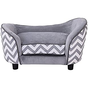 Customer reviews Pawhut Plush Fur Dog Sofa Couch Wooden Frame Deluxe Pet Sofa Lounger Cat Bed w/Cushions (Grey):Dailyvideo