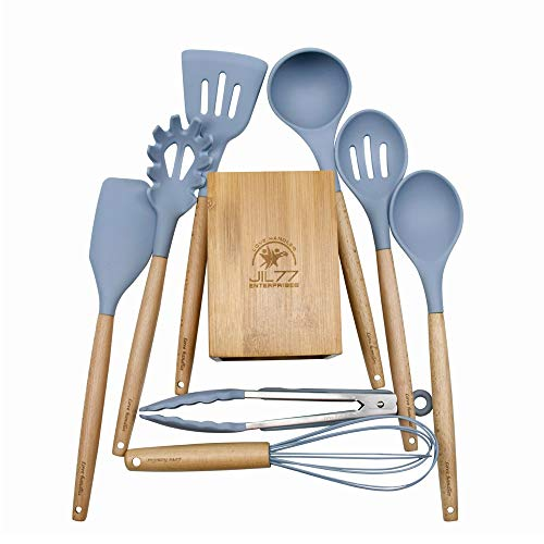 JIL77 - Silicone Utensil Set with Bamboo Holder and 8 Wooden Handles – Kitchen Cooking Utensils Sky Blue- Heat Resistant Up to 450°F. Silicone Non-Scratch