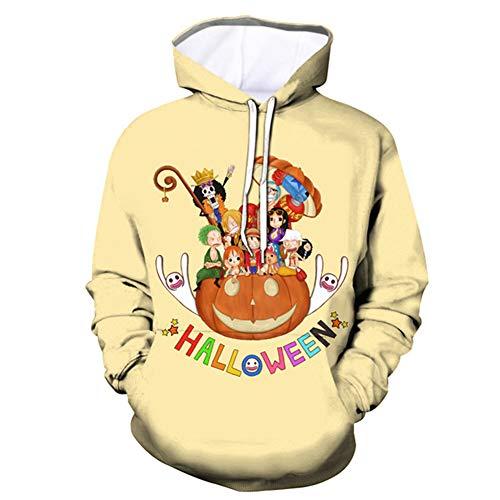 HS-QFQ One Piece W116 Straw Hat Pumpkin Series Same Paragraph Sweatshirt Jacket Hat 3D Number Sweater COS Polyester Autumn Winter,XLBUST:112