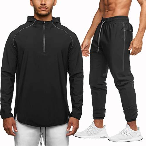 WBLKD Hombres Completos Trajes De Jogging Bottings Gym Sweat Suits con Capucha Chaqueta Deportiva Pantalones D-M
