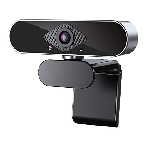 Webcam con micrófono 1080P,Full HD Webcam PC para Videollamadas Panorámicas y Grabación, Aplicar a Skype,Zoom,Enfoque automático Plug and Play, cámara USB para Ordenador portátil, PC/Mac