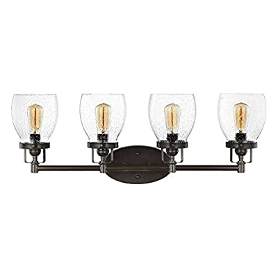 Sea Gull Lighting 4414504-782 Belton Four-Light Wall/ Bath with Clear Seeded Glass Shades, Heirloom Bronze Finish