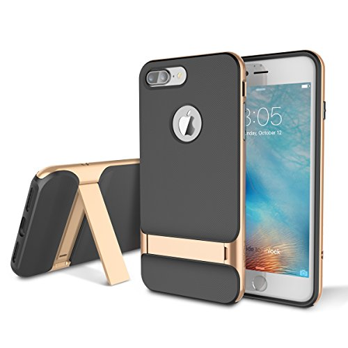 iPhone 7 Plus (5.5 inch) Case, ROCK MOOST [Royce Series] Dual Layer Thin & Slim Shockproof Case for iPhone 7 Plus [Black / Champagne Gold]