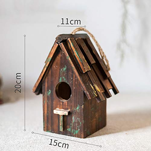 Vogelhuisje Houten Huis Van De Vogel For Hangende Buiten Decoratieve Met De Hand Beschilderd Birdhouse Yard Garden Decor Open Lucht Decoratieve Tuin (Color : C, Size : Free size)