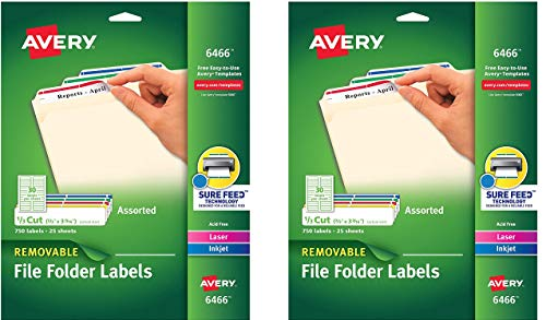 Avery Removable 2/3 x 3 7/16 File Folder Labels 750 Pack (6466) (2 X Pack of 750)