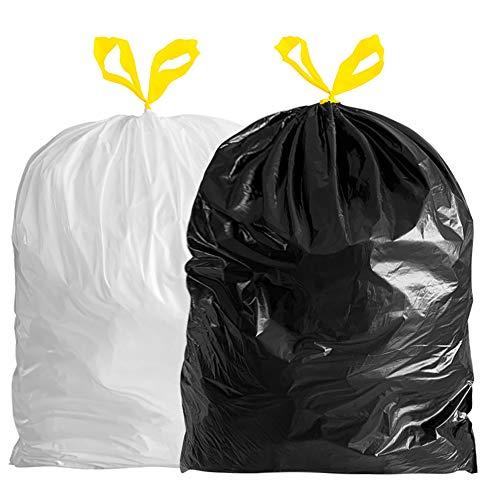 JJSJ Bin Bags 50L Bin Liners, Drawstring Trash Bags Large Strong Unscented...