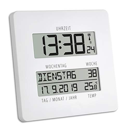 TFA Dostmann TIMELINE Digitale Funkuhr mit Temperatur, Kunststoff, weiß, L210 x B45 x H235 mm