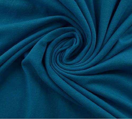 Jersey cotone, morbido jersey elasticizzato di ottima qualità, colore: petrolio, 100 x 150 cm, al metro, tessuto jersey di cotone, jersey, lana
