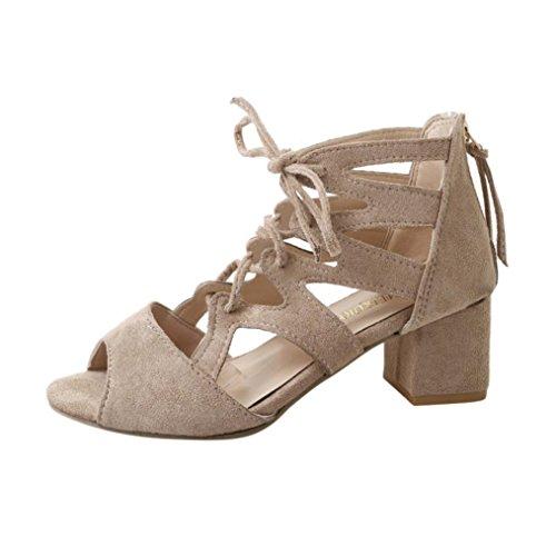 PAOLIAN Sandalias de Vestir de Mujer Verano Sandalias Romano Cruz de Cordones Zapatos de tacón de Boca de Pescado para Mujer Hueco Terciopelo Calzado de tacón Plataforma Fiesta Moda 2018