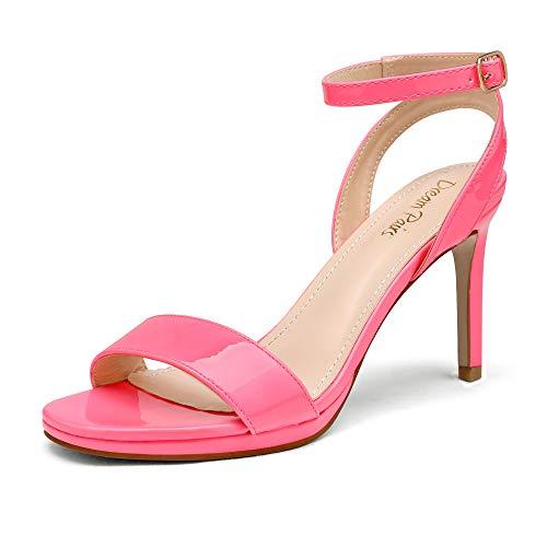 DREAM PAIRS Women's Stecy-1 High Stiletto Open Toe Ankle Strap Heels Dress Pump Heel Sandals Neon Pink Pu Size 9 US