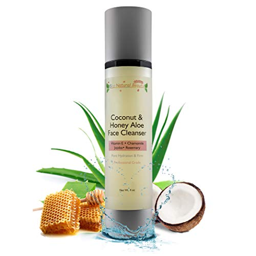 Coconut & Honey Aloe Face Cleanser With Manuka Honey - Best Moisturizing, Anti-Aging Facial Wash for Sensitive & Delicate Skin