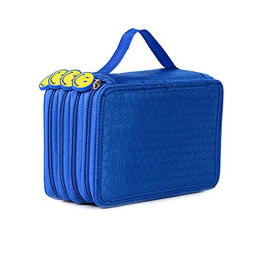 ZUMUii Butterme 4 Schichten mit hoher Kapazität Oxford-Bleistift-Kasten 72 Slots Bleistift Organizer Portable Bleistift-Verpackungs-Kasten für Teen Mädchen Jungen Studenten (Blau)