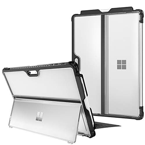 FINTIE Hard Case for Microsoft Surface Pro 7/ Pro 6/Pro 5/Pro LTE - Shockproof Folio Protective Rugged Cover Compatible with Type Cover Keyboard and Original Kickstand, Frost Clear