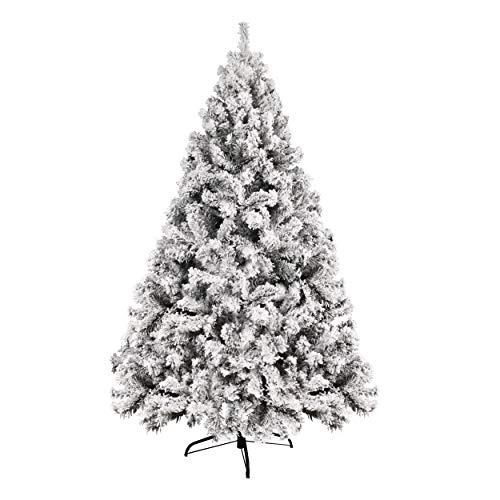 YOUKE 1.8 m große Schnee Szene Weihnachtsbaum,Weihnachtsschmuck ,PVC-Blatt Beflockung with 760Tips,Weihnachtsbaum Künstliche Schnee Pine(Weiß,1.8m)