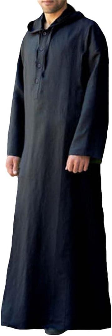 2021 Men Islamic Arab Muslim Kaftan Thobe Long Sleeve Hooded Robes