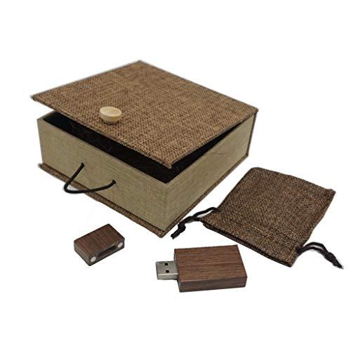 USB Speicherstick LUCKCRAZY 16GB USB Stick aus Natürlichen Walnussholz mit Vintage Leinen Verpackung Kasten als Geschenk für Kollegen oder Freunde