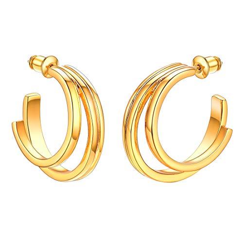 U7 Creolen Ohrringe 18k vergoldet Doppel C Offene Halbe Ohrringe mit 925 Silber Nadel anti-allergisch goldenfarben Damen Mädchen Vintage Modeschmuck Geschenk für Weihnachten Jahrestag