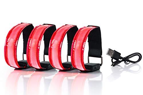 SAIBANGZI Aufladbares LED Armband, Leuchtband für Joggen, Laufen – Sicherheitslicht, Reflektor und Blinklicht für Kinder – Blinkende und statische LED-Funktionen, USB aufladbar (4 Stück) (rot)