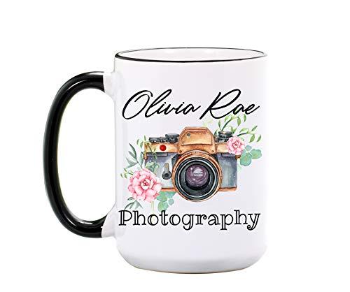 Camera Mug - Personalized Large 15 oz or 11 oz Ceramic Cup - Photographer Coffee Mugs - Camera Coffee Cup - Photographer Gifts for Photographers - Dishwasher & Microwave Safe - Made In USA