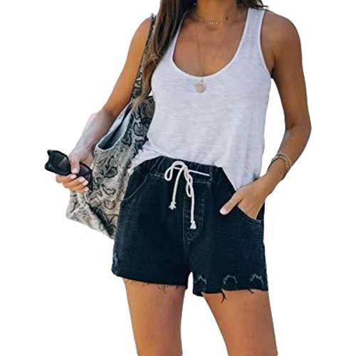Pantalones Cortos de Mezclilla para Mujer, Cintura elástica, Moda Lavada, Ropa de Calle cómoda y Relajada, Pantalones Cortos Rectos Casuales, Verano XXL
