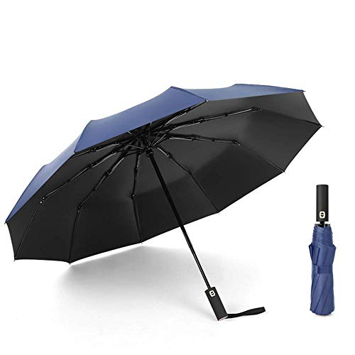 Zairmb Auto Open Close Taschenschirm Belüfteter, winddichter, doppelter Baldachin doppelter, umgedrehter UV-Schutzschirm Rutschfester Griff schnell trocknender Stoff-105cm Blue