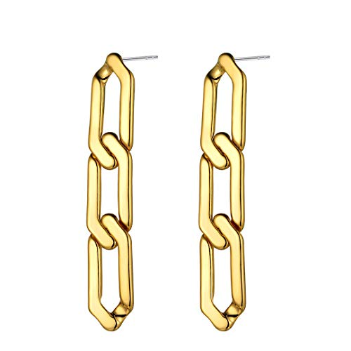ChainsHouse Women Girls 18K Gold Plated Personalized Symmetrical Chain Link Dangling Earrings, Fashion Jewelry, Send Gift Box