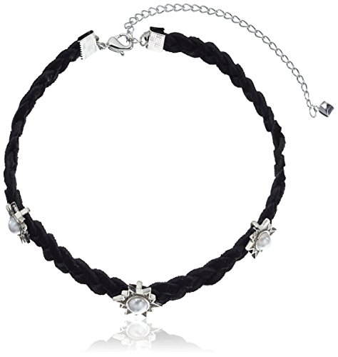 Rebecca Minkoff Rock N Roll Charms on Braided Leather Silver with Pearl Choker Necklace