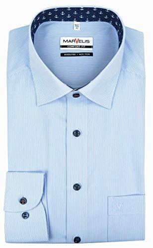 Marvelis Comfort Fit Hemd New Kent Kragen bügelfrei- feine Streifen Hellblau mit Besatz Reine Baumwolle, Größe:42