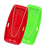Coolife Toboggan Snow Sleds for Kids and Adult, Downhill Sprinter Heavy Duty Toboggan Sled with Four Handles Pull Ropes (Red & Green)
