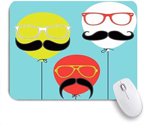 Gaming Mouse Pad rutschfeste Gummibasis, Sky Hipster Gesicht Luftballons Retro Schnurrbart Groovy Geburtstag Vintage attraktiv, für Computer Laptop Schreibtisch