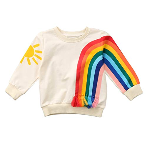 Toddler Kids Baby Girl Boy Long Sleeve Tassel Rainbow Sweatshirt Casual Shirt Pullover Tops (Beige, 3T)